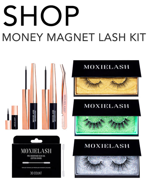 Get the most gaudy and lux lashes with the MoxieLash Money Magnet eyelash kit!