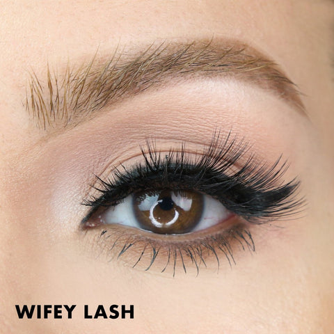 The Wifey Lash is a tapered and natural lash style that is featured in the Wedding Lash Kit.