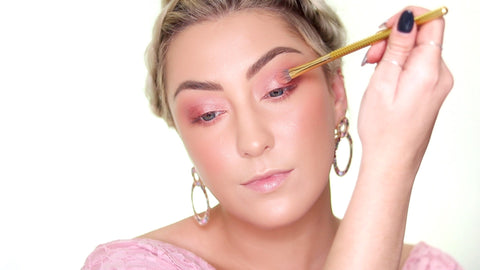 Grab a shimmery white eyeshadow color and apply it to the inner center of your eyelid for this MoxieLash Valentines Day look.