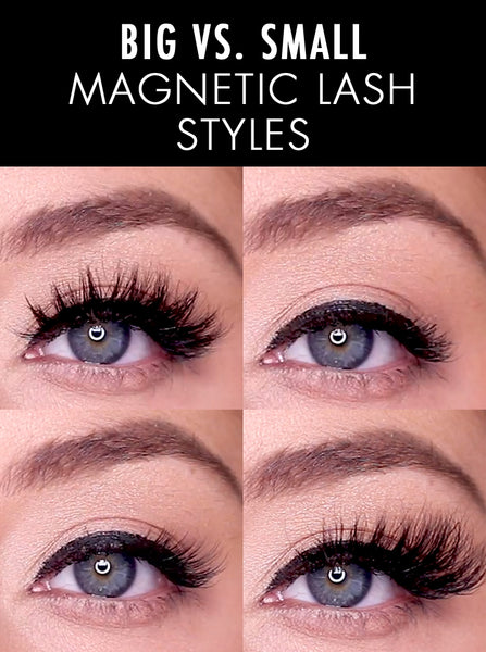 Big vs. small magnetic lashes and how they compare.