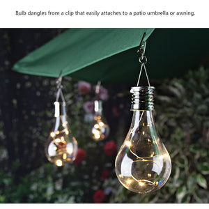 Solar Light Bulb Waterproof Rotatable Outdoor Camping Hanging LED Light Lamp Bulb (Warm White)