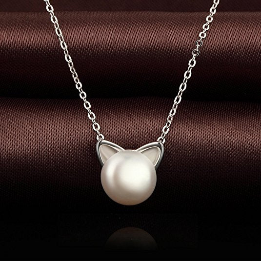 Silver Pearl Cat Necklace
