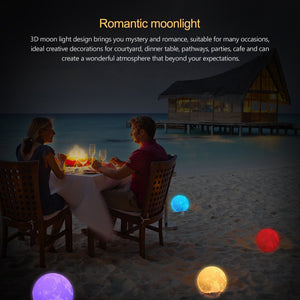 NEW ! Lunar Moon 3D Night Light - 2/16 Colors Changing