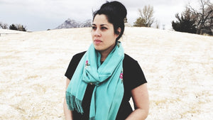 A Roseylicious Life mental health blog - My Why... To blog or not to blog - Viv wearing teal rose scarf