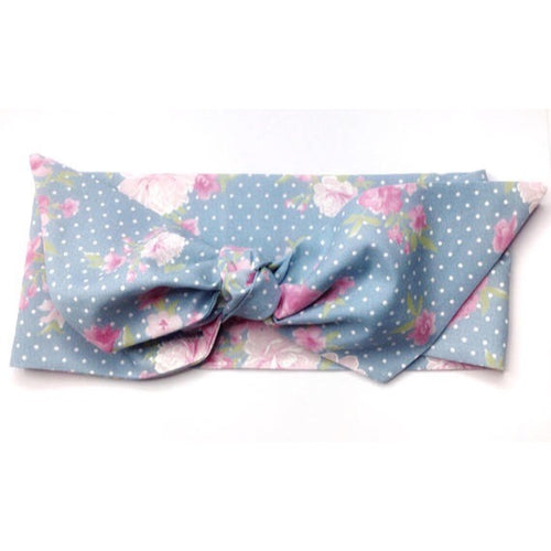 Tea Rose Retro Rockabilly Headband - Light Blue - headband - Buxom Doll - Roses N Retro