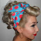 Pink Dot on Aqua Retro Rockabilly Headband - Pink/Aqua - headband - Buxom Doll - Roses N Retro