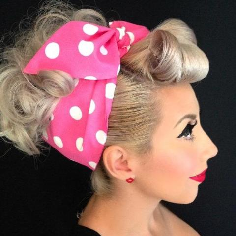 Polkadot Retro Rockabilly Headband - Pink, Red or Black - headband - Buxom Doll - Roses N Retro