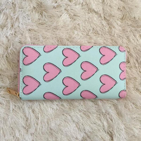 Hearts Wallet - Pink on Aqua - wallet - Vanilla Monkey - Roses N Retro