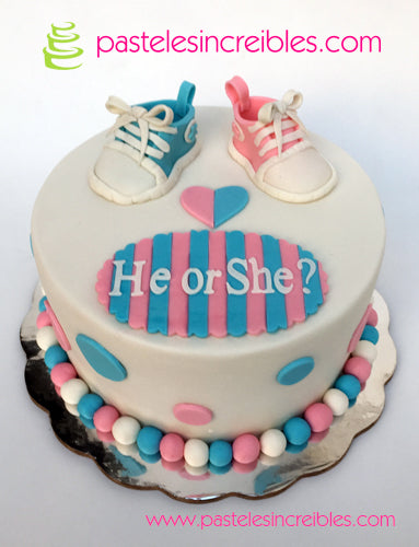 Pastel de Gender Reveal de Zapatitos