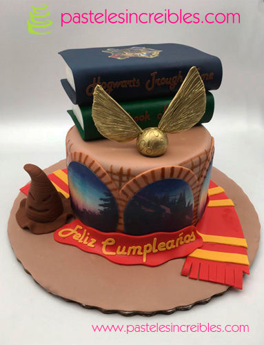 Pastel de Harry Potter con Libros