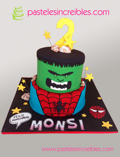 Pastel de Hulk y Spiderman