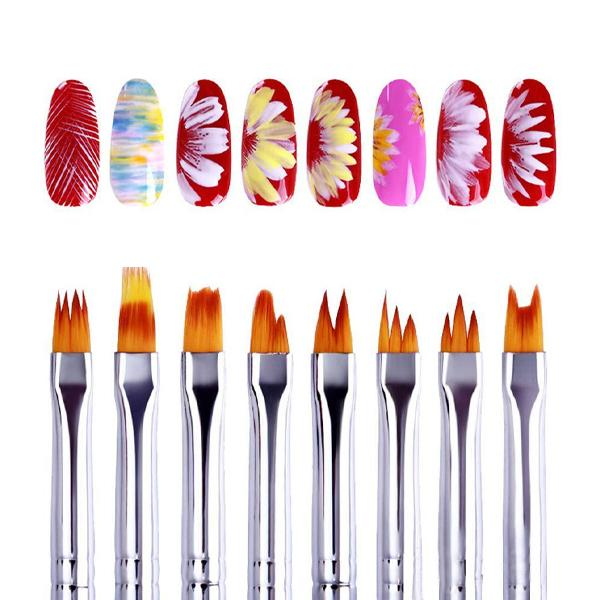 Flower Nail Art Brush Pen Set (8 pcs)