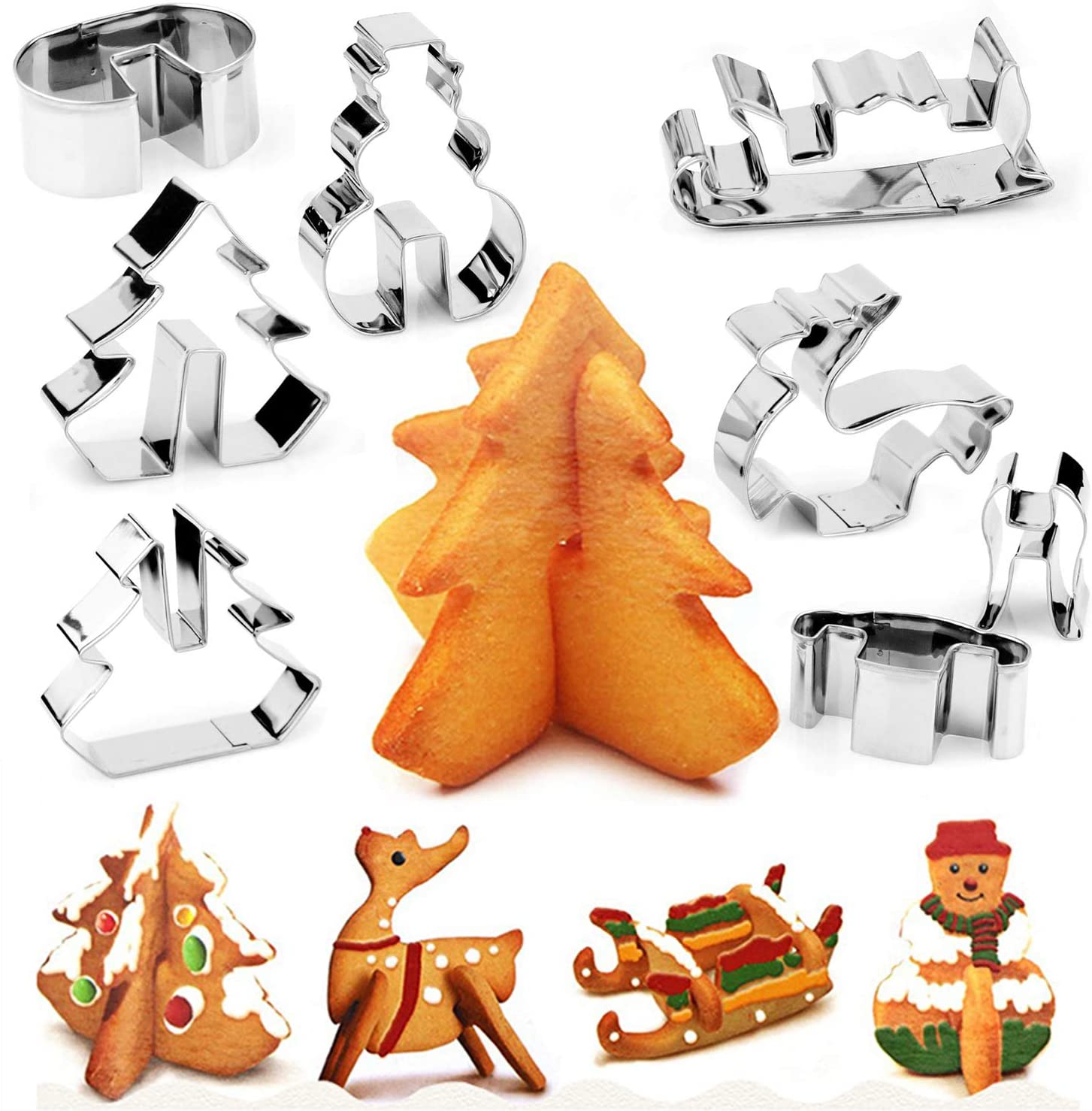 3D Christmas Cookie Cutter (8pcs)