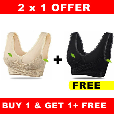OFFER 2x1 Front Cross Wireless Lace Lift Comfort Brassiere