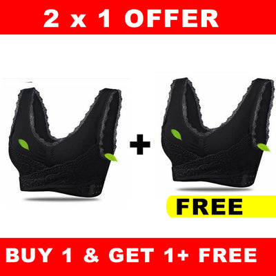 OFFER 2x1 Front Cross Wireless Lace Lift Comfort Bra