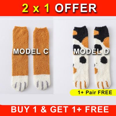 OFFER 2x1  Winter Cat Claws Cute Thick Warm Sleep Floor Socks