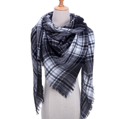 Cozy Plaid Wool Scarf