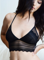Beautiful Scallop Lace Longline Bralette w/