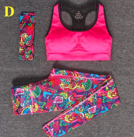 Sportswear 3pcs/ Set Tracksuits Headband + Bra + Printed fitness mhoffers