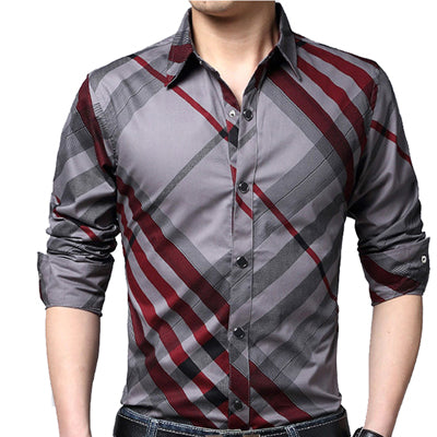 Casual Striped Men Shirts Slim Fit