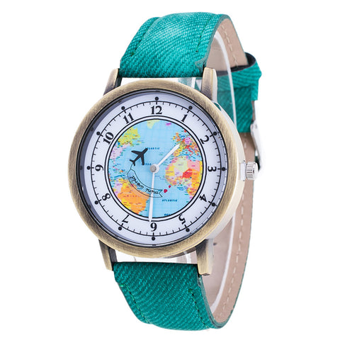 World Map Cowboy Band Analog Quartz Wrist Watch