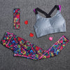 Image of Sportswear 3pcs/ Set Tracksuits Headband + Bra + Printed fitness mhoffers