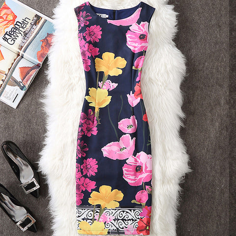 Floral Print Party Dresses Sexy Slim Office