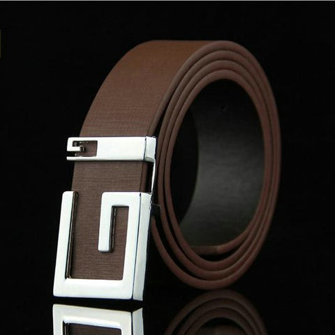 Leather Metal Plate Buckle Strap