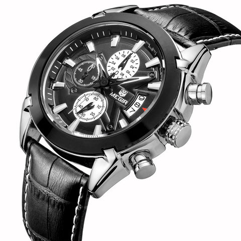 Water Resistant, Stop Watch, Auto Date, Chronograph, Watches Genuine Leather  Sport Quartz mhoffers