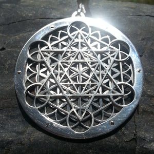 Metatron's Cube Flower of Life Pendant - large silver