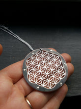 Flower of Life Pendant - triple layer with oxidised copper border