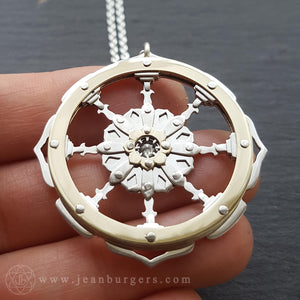 Golden Dharma Wheel Pendant