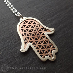 Small Hamsa Protection Pendant - Flower of Life