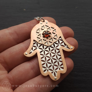 Large Hamsa Protection Pendant - Flower of Life Red Garnet