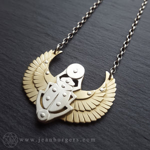 Egyptian Scarab Pendant - brass and silver