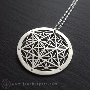 Large Star Tetrahedron Flower of Life Pendant - sterling silver