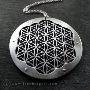 Flower of Life Pendant - triple layer sterling silver