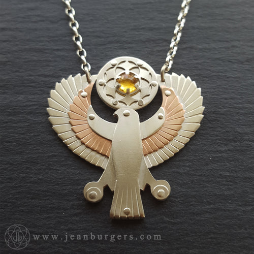 Egyptian Horus Pendant - holding citrine seed of life