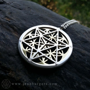Star Tetrahedron Flower of Life Pendant - 14ct gold and silver