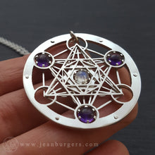 Metatron's Cube Four Gem Pendant