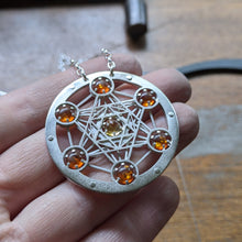 Amber and Citrine Metatron's Cube Seven Gem Pendant