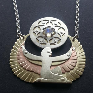 Egyptian Isis Winged Goddess Pendant - holding seed of life moonstone