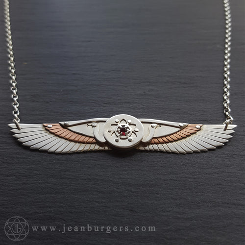 Egyptian Winged Disk Pendant - red garnet
