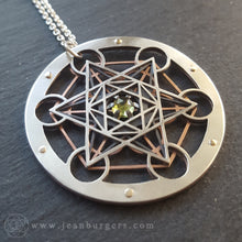 Metatron's Cube Pendant - choose your own rose cut gemstone