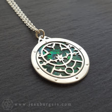 Planespheric Astrolabe Pendant - silver and green paua - 3