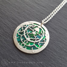 Planespheric Astrolabe Pendant - silver and green paua - 4