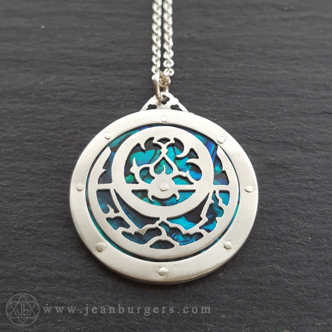 Planespheric Astrolabe Pendant - silver and blue paua - 1