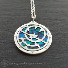 Planespheric Astrolabe Pendant - silver and blue paua - 2