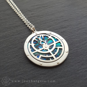 Planespheric Astrolabe Pendant - silver and blue paua - 3