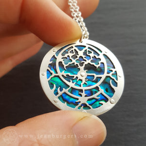 Planespheric Astrolabe Pendant - silver and blue paua - 4
